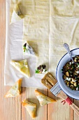 Phyllo pockets with eggplant filling