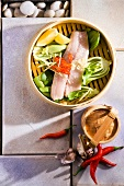 Steamed fish with vegetables (China)