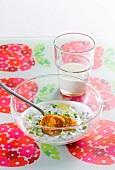 Sweet potato gnocchi in herb sauce