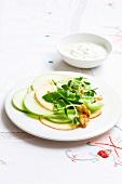 Waldorf salad with sugar snap peas