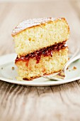 A slice of sponge cake with plum jam