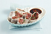 Rice paper rolls with beef tartar