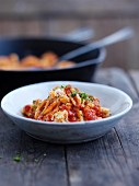 Malloreddus pasta with tomatoes and ricotta