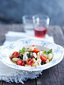 Malloreddus pasta with burrata cheese, tomatoes and black olives