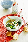 Miso soup with wakame and shiitake mushrooms