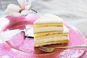 A piece of champagne sponge cake