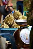 Market stall with durian fruit