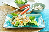 Exotic poultry salad with tangerines