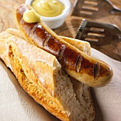 Grilled bratwurst with baguette and mustard