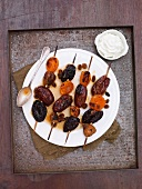 BBQ - kebabs with marinated dried fruit (dates, apricots, figs and prunes)