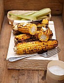 Grilled corn on the cob with butter and sea salt