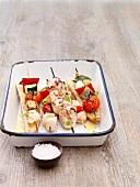 Grilled chicken-vegetable kebabs