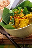 Fish curry on banana leaf