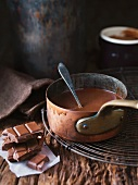Chocolate melting in a copper pan