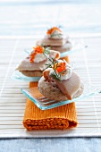 Pizzettes made of spelt flour with smoked trout and caviar