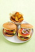 A cheeseburger with potato wedges