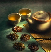 A Variety of Loose Japanese Green Teas with Two Tea Cups and a Tea Pot