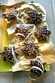 Nougat stars with nibbed hazelnuts