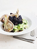 Beef with mashed potato, fennel and endive salad