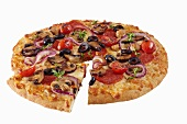 Loaded Pizza with a Slice Removed; On a White Background