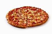 Chicken, Red Pepper and Onion Pizza on a White Background