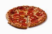 Pepperoni pizza, a slice cut