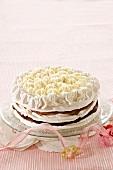 Chocolate layer cake with meringue