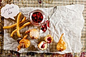 Doughnuts with berry jam for Hanukkah