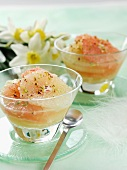 Grapefruit dessert with chopped nuts