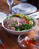Bollito misto with vegetables