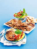 Barbecued chicken in curry marinade with mango salad