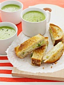 Toasted sandwiches with cream of pea soup