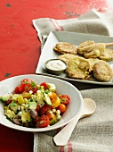Tomato and avocado salad and corn biscuits