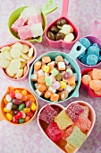 bowls of mixed sweets, jellies; chocolates