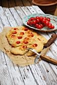 Potato focaccia with cherry tomatoes