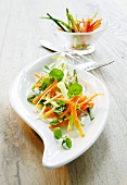 Leeks with carrots and watercress