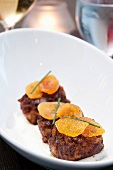 Duck Meatballs Topped with Dried Apricots