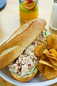 Lobster sandwich with crisps