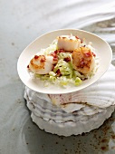 Scallops with pancetta and leek