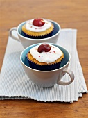 Buttermilk cupcakes with cherries