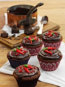 Chilli and chocolate cupcakes with plain chocolate