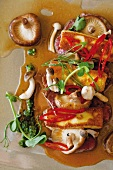 Fried halloumi on slices of cured sausage with mushroom sauce, peppers and herb sauce