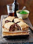 Beef pie cut into pieces