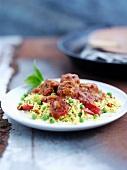 Pork and chorizo meatballs with rice