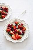 Fresh summer fruits (strawberries, raspberries, blueberries)