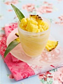 Semi-frozen dessert with pineapple and apricots