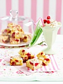Raspberry and macadamia blondies