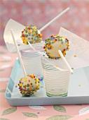 Cake pops with sugar confetti