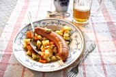 Bockwurst with carrots and potatoes