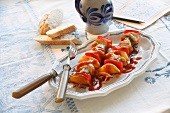 Turkey skewers with peppers and onions